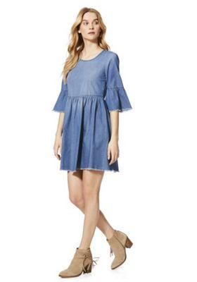 JDY Denim Bell Sleeve Dress Blue 10