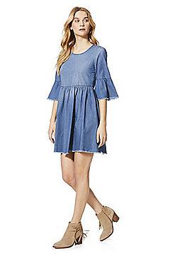 JDY Denim Bell Sleeve Dress - Blue