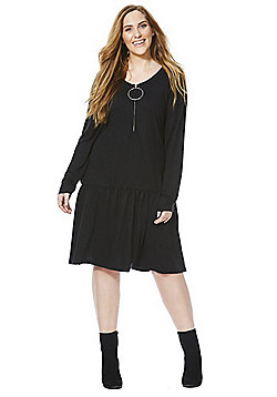 Junarose Ring Pull Drop Hem Plus Size Dress - Black
