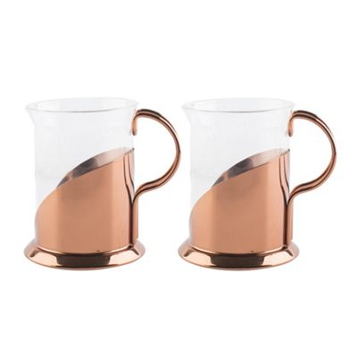 buy set of 2 la cafetiere copper glass mugs from our tea. Black Bedroom Furniture Sets. Home Design Ideas