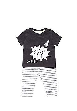 F&F Blast Off Slogan Pyjamas - Black & White
