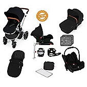 Ickle Bubba Stomp V3 AIO Isofix Travel System/Buggy Lights Black (Silver Chassis)