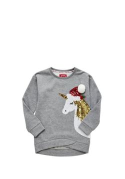 F&F Sequin Unicorn Christmas Sweatshirt - Grey
