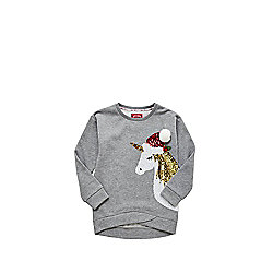 F&F Sequin Unicorn Christmas Sweatshirt - Grey