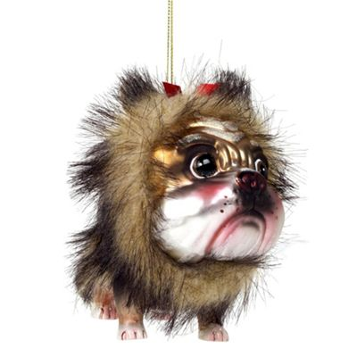 Wizard of Oz Lion Dog Glass Christmas Tree Bauble