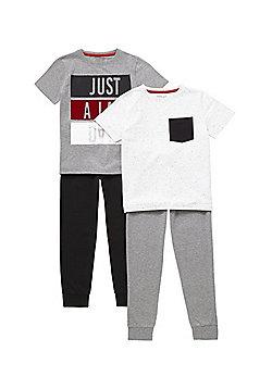 F&F 2 Pack of Slogan and Flecked Pyjamas - Grey