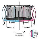 Plum 14ft Colours Springsafe Trampoline & Enclosure - Flamingo Pink & Tropic Turquoise