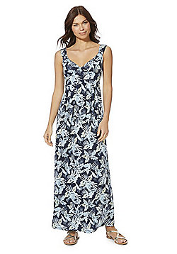 Mela London Leaf Print Maxi Dress - Blue Multi