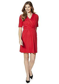 Mamalicious Wrap-Style Nursing and Maternity Dress - Red