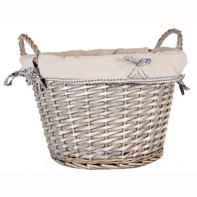Rustic Grey Willow Round Storage with Plain Lining
