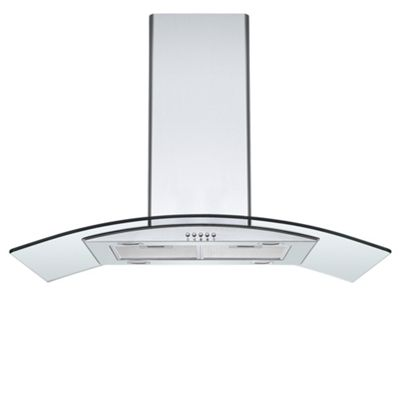 Cookology ILD900GL | 90cm Curved Glass Island Chimney Cooker Hood in Stainless Steel