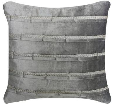 Grey Velvet Striped Cushion