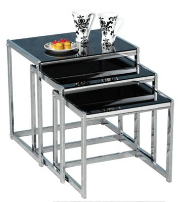 Novella Black Gl And Chrome Nest Of Tables