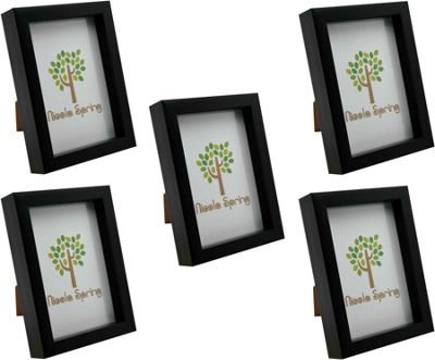 Black 5x7 Box Photo Frame - Standing & Hanging - Pack of 5
