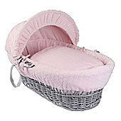 Clair de Lune Grey Wicker Moses Basket (Marshmallow Pink)
