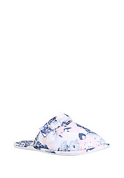 F&F Floral Jersey Mule Slippers - Blue