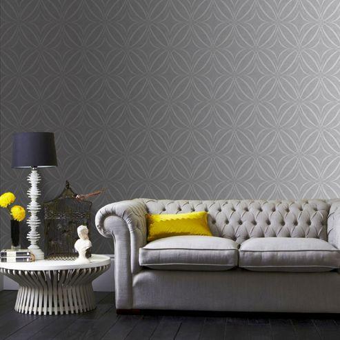 Superfresco Easy Grey Glitz Geo Wallpaper