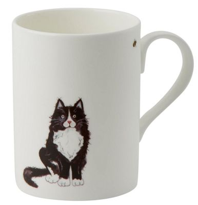 Roy Kirkham Lucy Mug Black and White Cat Front