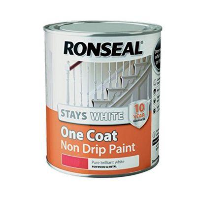 Ronseal Stays White One Coat Non Drip Paint - Brilliant White - Gloss - 750ml