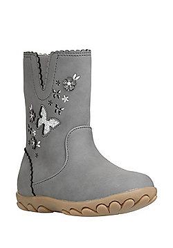 F&F Laser Cut Butterfly Calf Boots - Grey