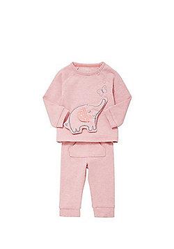 F&F Padded Elephant Applique Sweatshirt and Joggers Set - Pink