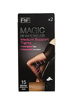 F&F 2 Pack of Magic Shapewear 15 Denier Medium Support Tights with Lycra® - Natural
