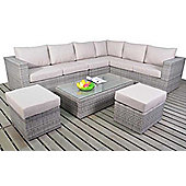 Luxan Rustic Large Corner Sofa Set with Footstools and Coffee Table