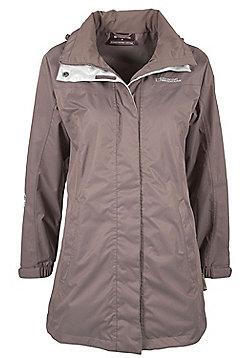 Guelder Womens Breathable Waterproof Casual Hooded Lightweight Long Coat Jacket - Brown