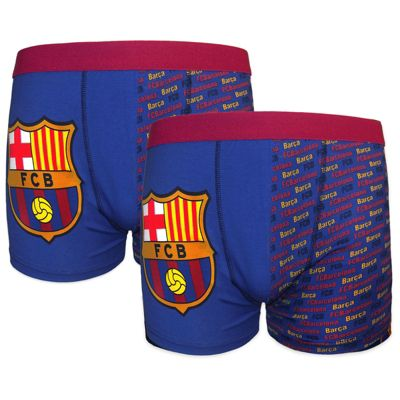 FC Barcelona Boys Boxer Shorts 2 Pack Blue 7-8 Years