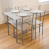 Cecilia 5 Piece Table & Chair Set - Chrome
