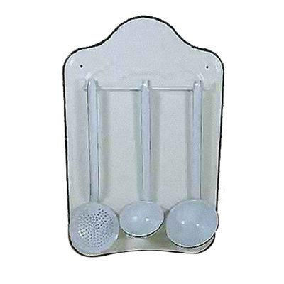 White Enamel Kitchen Utensil Holder