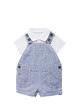 F&F Polo Bodysuit and Striped Short Dungarees Set - Blue & White