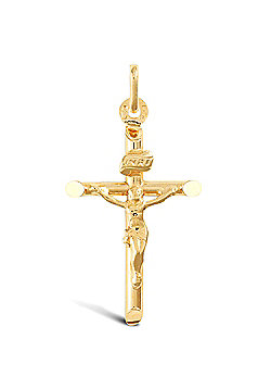 Jewelco London 9ct Yellow Gold light weight plain tube crucifix pendant
