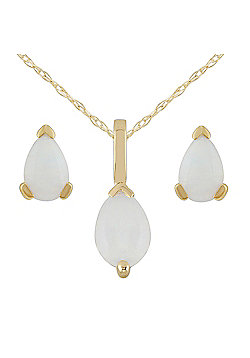 Gemondo 9ct Yellow Gold Genuine Opal Pear Shaped Claw Set Earring & Necklace Set