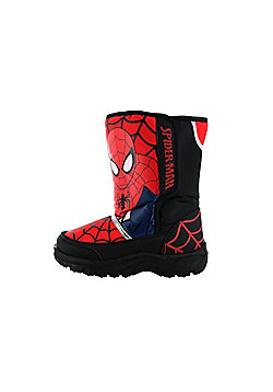 Boys Spiderman Black and Red Warm Winter Rubber Snow Boots Wellies Various Sizes - Black