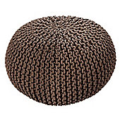 EHC Braided Hand Knitted Round Foot Stool Pouffe, Latte