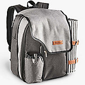 VonShef 2 Person Premium Picnic Backpack Bag Set - Grey Woven