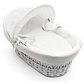 Kinder Valley White Waffle White Wicker Moses Basket