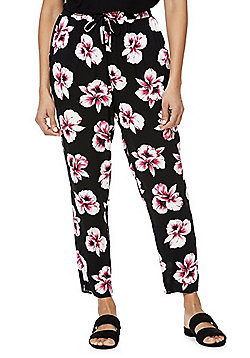F&F Floral Print Elastic Waist Trousers - Black Multi