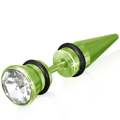 Urban Male Bright Green Stainless Steel Fake Ear Expander Plug Earring CZ Set 6mm