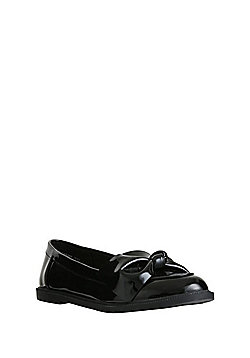 F&F Patent Bow School Loafers - Black