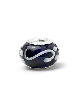 Black and White Piped Swirl Bead