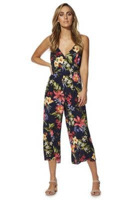 F&F Floral Cami Culotte Jumpsuit Navy Multi 20
