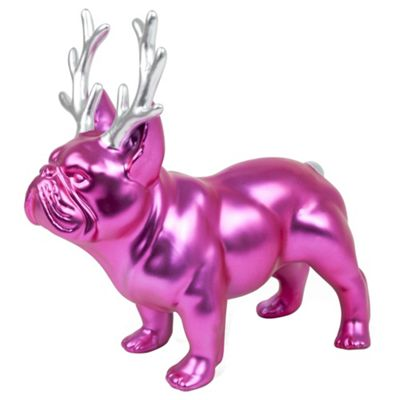 Bright Pink Ceramic Christmas French Bulldog Ornament with Antlers