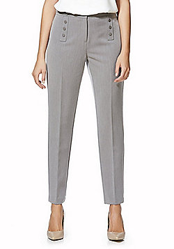 F&F Button Detail Ankle Grazer Slim Leg Trousers - Grey