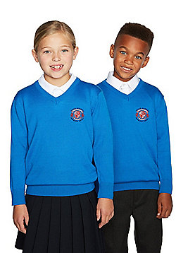 Unisex Embroidered V-Neck School Jumper with Wool - Blue