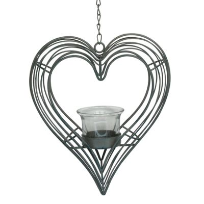 Grey Heart Hanging Tea Light Holder
