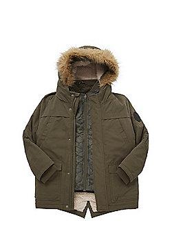 F&F 3 in 1 Faux Fur Trim Coat - Khaki