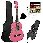 Jasmin 1/4 Size Classical Guitar Pack - Pink