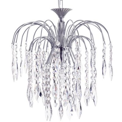 Litecraft Cascade 1 Bulb Large Ceiling Pendant with Crystal Droplets, Nickel